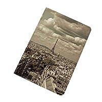 iPad Pro 9.7 ケース 2016 スマート パリの装飾 エッフェル塔と暗い曇り空の首都フランスの歴史的なレトロな写真 超スリム 軽量 スタンド 保護ケース バックカバー Apple iPad Pro 9.7 インチ(A1673 A1674 A1675) ベージュとパリの街のスカイライン