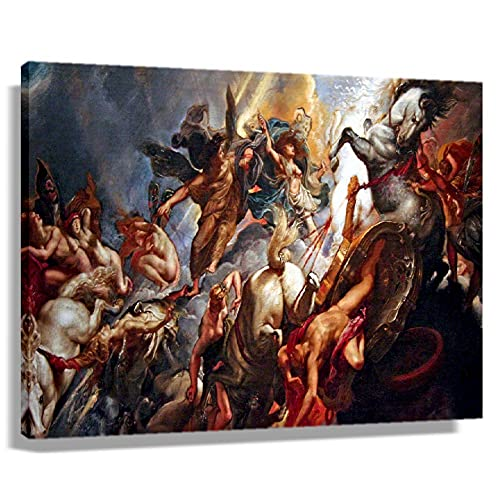 XBQQL Greek Mythology Battle Vintage Poster Living Room Prints Photo Decorative Canvas Wall Art Decoration Home Picture Painting for Bedroom Wall Artwork for Kitchen Giclee Canvas for Office (16x24inch(40x60cm),Unframed)