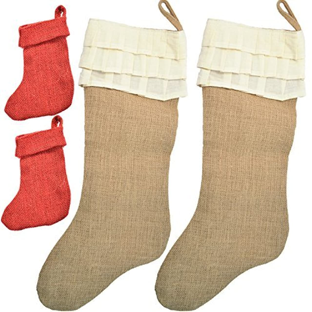 Firefly Craft Set of 2 Large Ruffled Burlap Christmas Stockings, 20 Inches By 10 Inches Each