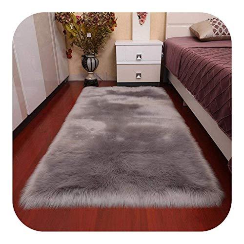 WYDM Alfombra de piel artificial de muchos tamaños Alfombra de sala de estar Alfombra de piel de oveja Alfombra larga y peluda Sofá de felpa Alfombra mullida de dormitorio, 90x180cm, como en la imagen