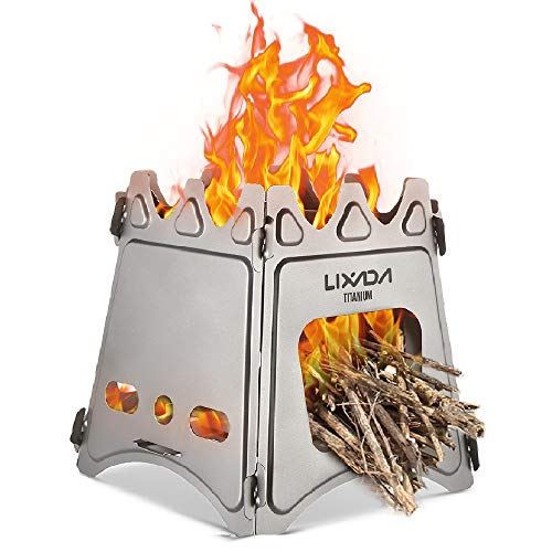Lixada Camping Stove,Compact Folding Titanium Wood Stove with Mini Alcohol Stove for Outdoor Camping Cooking Picnic