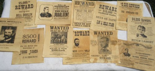 Collectible Badges Set of 12 Reproduction Old West Wanted Reward Posters