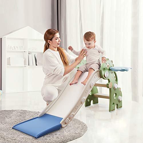 HAPPYMATY Kinderrutsche Mini Rutsche für Kleinkinder Rutsche Indoor klappbar Dinosaurier Rutsche für Babys ab 10 Monate 115cm Rutschbahn Grün