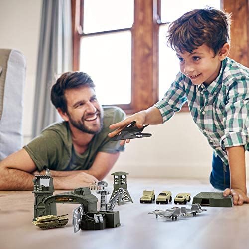BeebeeRun 34 Pieces Military Base Set, Army Men Playset with Vehicles Accessories and Play Map, Plastic Christmas Toys Gifts for 3 4 5 6 7 8 Year Old Boys Girls Kids