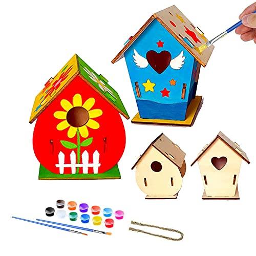 2 Stück Vogelhaus Bausatz, Kinder Holz Vogelhaus, DIY Holz Vogelhaus, Vogelhaus Malen, Holz Vogelhaus zum Bemalen, Machen Sie kreative Spielzeuggeschenke, 12 Farben und 2 Pinsel für Kinder