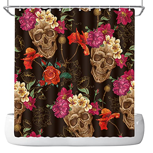 DePhoto Halloween Shower Curtain for Bathroom Roses and Skull Gothic Horror Black Decoration Accessories Polyester Fabric Waterproof with 12 Hooks 72x72 Inch
