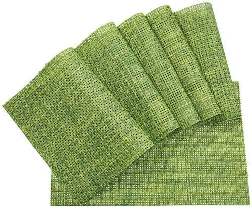 Meersee Juego de 6 Mantel Individual de PVC Lavables, Resistentes al Calor y al Desgaste, fácil de Limpiar Verde