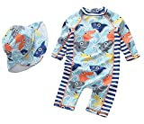 Baby Boys Swimsuit One Piece Toddlers Zipper Bathing Suit Swimwear with Hat Rash Guard Surfing Suit UPF 50+ (Shark, 3-6 Months)