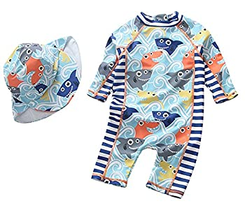 Baby Boys Swimsuit One Piece Toddlers Zipper Bathing Suit Swimwear with Hat Rash Guard Surfing Suit UPF 50+  Shark 9-18 Months