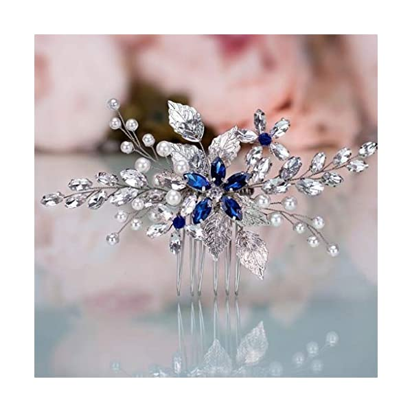 Olbye Wedding Hair Comb Blue Rhinestone Bridal Hair Accessories for Bride and Bridesmaids...