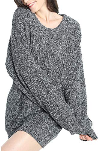 Liny Xin Women's Cashmere Oversized Loose Knitted Crew Neck Long Sleeve Winter Warm Wool Pullover Long Sweater Dresses Tops (Model 2, Dark Grey)