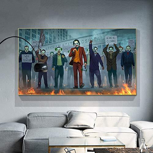 ganlanshu Payaso decoración de la Pared Pintura película Retrato Lienzo Arte para Sala de Estar decoración del hogar,Pintura sin Marco,50X90cm