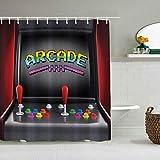 Cortina de ducha,Acción de Gracias,Navidad videojuegos,máquina recreativa,juegos retro,diversión,joystick,botones,vintage,años 80,90,electrónica,cortinas de baño,decoración de baño,juego con ganchos