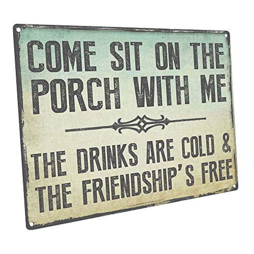 HBA Come Sit on The Porch with Me Metal Sign, Outdoor Living