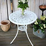 Lazy Susan TULIP 60cm Round <span class='highlight'>Garden</span> Table, Elegant, Weatherproof Cast Aluminium Patio Table in White