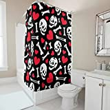 Gamoii Cortina de ducha con diseño de calavera, huesos y corazones, para Halloween, con ganchos de cortina, color blanco, 120 x 200 cm