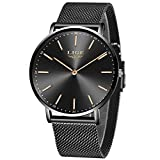 LIGE Ultra-Thin Mens Watches Unisex Waterproof Sport Stainless Steel Mesh Wrist Watch Gents Fashion Simple Analogue Black Watches for Man