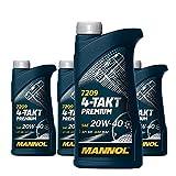 MANNOL 4 x 1L 7209 4-Takt Premium/SAE 20W-40 JASO MA2 API SM Motorradöl Mineral