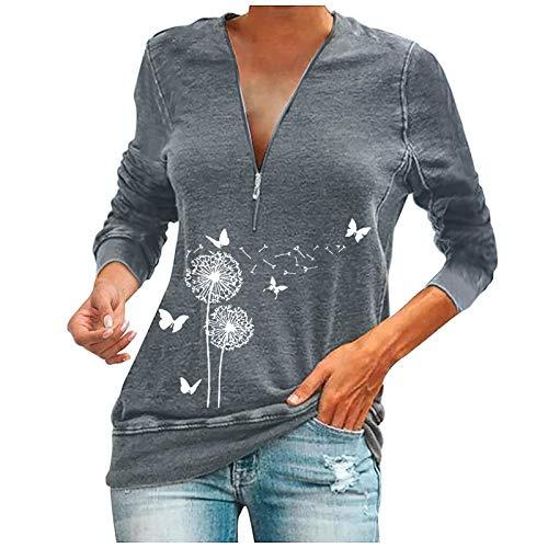 MEITING Damen T-Shirt Reißverschluss...