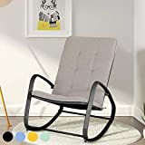 PHI VILLA Outdoor Patio Metal Rocking Chair, Padded Modern Rocker Chairs with Cushion, Support 301lbs for Porch, Deck,...