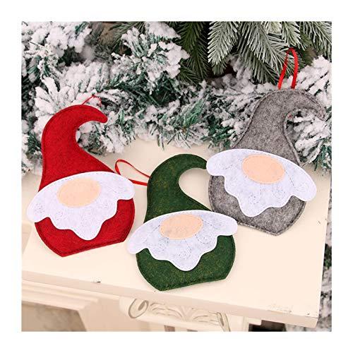 Engfgh 3Pieces Gnome Christmas Ornaments, Christmas Gnome Santa Doll Ornaments Hanging Xmas Tree Fireplace Handmade Santa Elf Table Ornaments for Christmas Tree Hanging Decoration