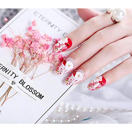 Wangguifu 24 Pcs Fleur Conception De Mode Faux Ongles Rouge Couleur De Mariage Populaire Beauté Manucure Conseils Et Colle Diy Simulation Perle Délica