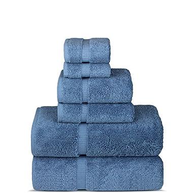 Luxury Spa and Hotel Quality Premium Turkish 6-Piece Towel Set (Wedgewood, 2 x Bath Towels, 2 x Hand Towels, 2 x Washcloths)