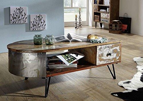 Table basse 120x60cm - Bois massif recyclé laqué (Multicolore) - Style Urbain - LIVERPOOL #34