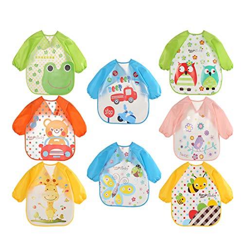 Ymwave - 4 baberos unisex de manga larga, impermeables, EVA, bonitos estampados, diseño de rayas, con cierre de corbata ajustable para niños de 6 meses a 3 años