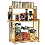 Estantería de bambú para especias con 3 niveles, organizador de especias con soporte para cuchillos y soporte para tablas de cortar, organizador de escritorio, para cocina, estudio, cuarto de baño