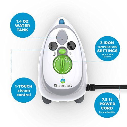 Steamfast SF-717 Mini Steam Iron with Dual Voltage, Travel Bag, Non-Stick Soleplate, Anti-Slip Handle, Rapid Heating, 420W Power, White