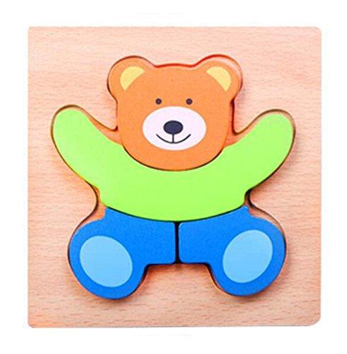 Belle Ours en Bois Puzzles Enfants Babys 3D Puzzles Building Blocks Jouets