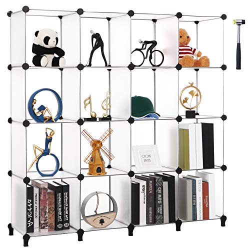 Anwwide LCS016T - Organizer a forma di cubo Con 16 cubi per Armadio Libreria Libreria per Bambini Per camera da letto Armadio Libreria Ufficio Soggiorno Colore Bianco