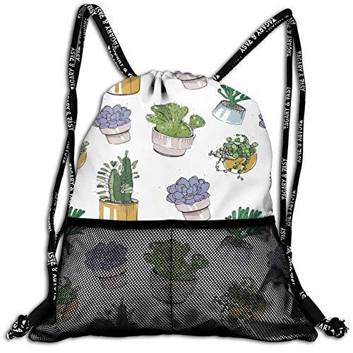 Drawstring Backpack Hand Drawn Succulents Plant Pot Waterproof Sports Gym Bag Lightweight String Bag Cinch Sack With Mesh Front Pockets For Men Women Children Teens