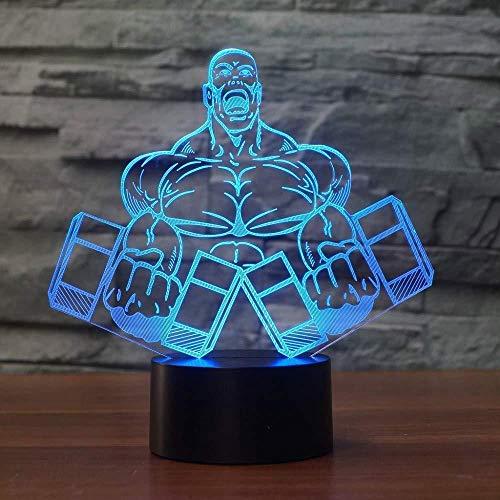 7 bunte visuelle 3D Nachtlicht Hantel Muskel männliche Form Schlafzimmer Tischlampe LED Bodybuilding Dekoration Schlaf Beleuchtung Kinder Geschenk