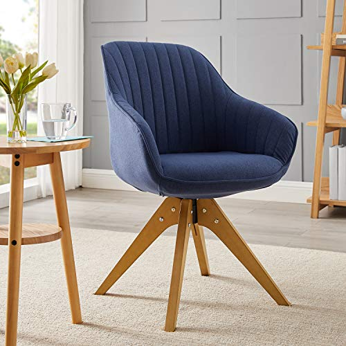 Art Leon Mid Century Modern Swivel Accent Chair with Arms, Beech Wood Legs Upholstered Computer Desk Chair for Small Spaces Home Office Living Room Bedroom, Royal Blue