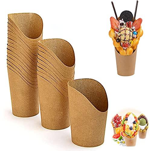 Vasos de Cartón para Alimentos Portavasos para Pasteles Recipientes Aperitivos para Patatas Fritas Cajas de Palomitas Cartón Taza de Kraft Vaso de Papel Biodegradables para Hojaldre de Huevo 60 Piezas