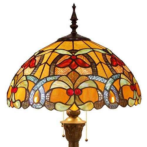 Tiffany Style Floor Standing Lamp 64 Inch Tall Orange Stained Glass Liaison Shade Crystal Bead Flower 2 Light Antique Base Decorate Bedroom Living Room Reading Lighting Table S617 WERFACTORY
