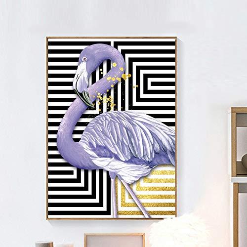 YuanMinglu Wandkunst Druck Leinwand Malerei Druck Malerei Flamingo Gold Line Nordic Style Leinwand Poster Wohnzimmer Home Decoration - Rahmenlose Malerei 60x90cm