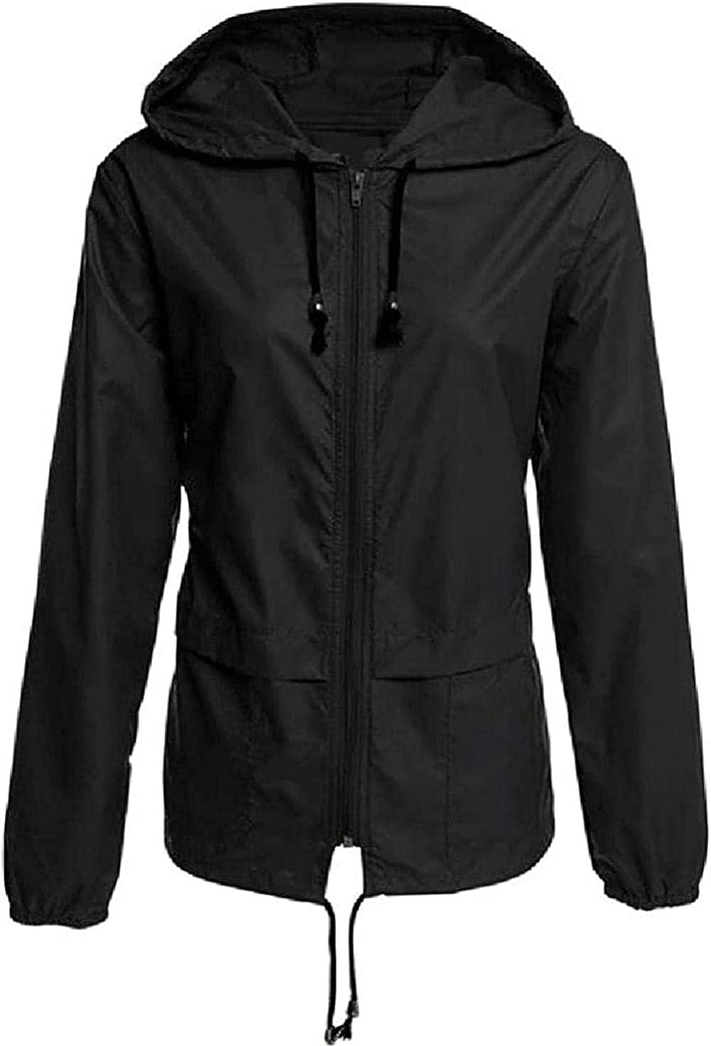Women's Lightweight Zip Up Solid Hooded Outdoor Waterproof Windproof Windbreaker Jacket Coat