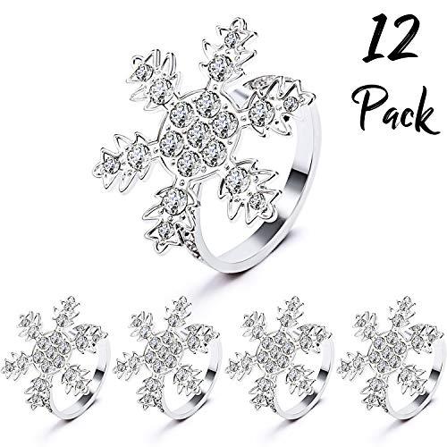 WILLBOND Weihnachten Servietten Ringe Halter für Weihnachten Abendessen Party, Hochzeit Schmuck, Tisch Dekoration Zubehör (Schneeflocke, 12)