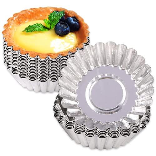 CiYouc 24 Pcs Egg Tart Molds, Mini Tart Pan for Baking, Aluminum Tins Mould for Tart Shells, Pie, Cupcakes, Mini Cake, Pudding, Jello, Muffin and Chocolate
