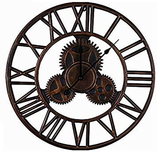 JJDSN 45cm Gear Iron Art Rundwanduhr Römische Ziffern Moderner Stil Kreative Vintage Stille Wanduhr Uhr Schmiedeeisen Industrielle Eisenuhr Handwerk
