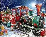 DIY 5D redondo diamante pintura por número kits Navidad Santa Express tren de vapor completo taladro diamante gemas arte para decoración de pared 50x40cm