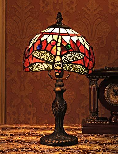 8 pulgadas de estilo vintage europeo Vidrieras y perlas de colores cálidos Series Lámpara de mesa Lámpara de mesa Lámpara de escritorio Luz de noche