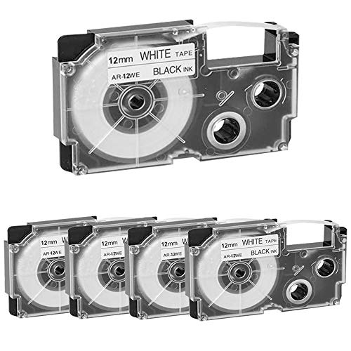 Compatible Label Tape Replacement for Casio XR-12WE XR-12WE2S Tapes 12mm x 8m (1/2 Inch x 26 Feet) Black on White Label Tapes Cassettes for Casio KL-60 KL-120 KL100 KL750 KL780 KL Label Makers, 5-Pack