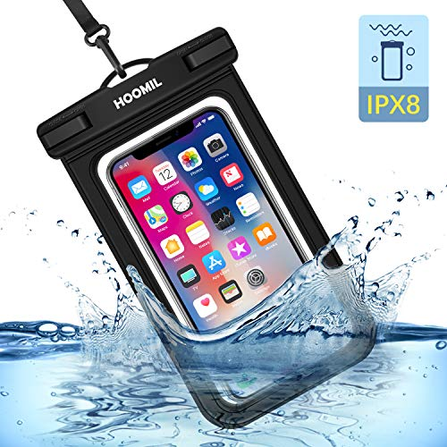 HOOMIL wasserdichte Handyhülle, Universal Wasserfeste Handytasche IPX8 Unterwasser Handy Hülle für Samsung Galaxy M31/M21/A51/A71/A20e, Schwarz