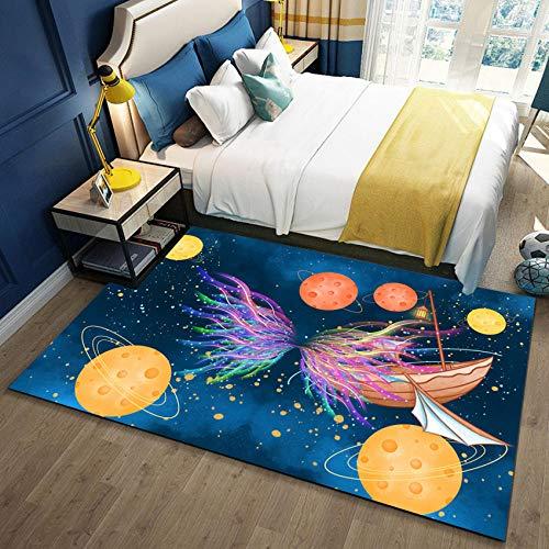 YQZS Teppich Schlafzimmer Teppich Orientteppich Gelber Karikaturplanet Super Soft Area Teppich Anti-Skid Teppich,160X230(63X90inch)