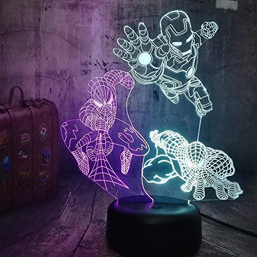 Lámpara 3D De La Ilusión Luz Nocturna De 7 Colores Superman Anime 7 Colores Control Remoto Toque Juguetes Decoración Navidad Regalo De Cumpleaños