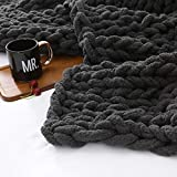 Chunky Knit Throw Blanket 60'x80' -Large Cable Knitted Soft Cozy Chenille Bulky Blankets for Cuddling up in Bed, on The Couch or Sofa (Grey, 60'x80')